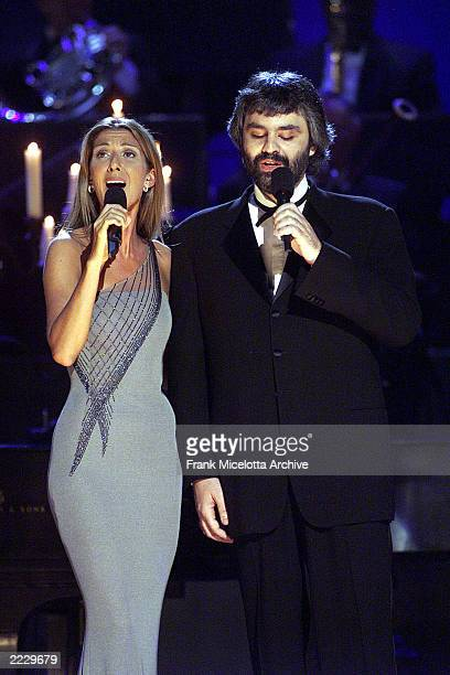 Celine Dion and Andrea Bocelli performing on the 41st Annual Grammy Awards in Los AngelesPhoto by Frank Micelotta/Getty Images