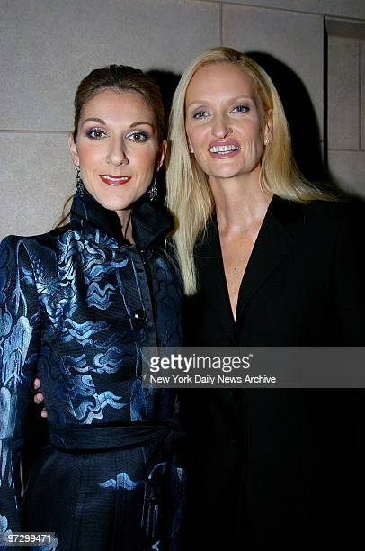 Celine Dion and Australian photographer Anne Geddes leave their midtown hotel on their way to a launch party for Miracle a CD DVD and book of photos...