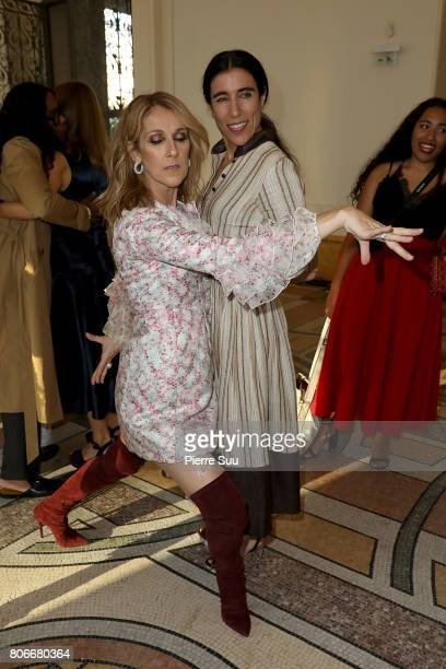 Celine Dion and Bianca Li attend the Giambattista Valli Haute Couture Fall/Winter 20172018 show as part of Haute Couture Paris Fashion Week on July 3...