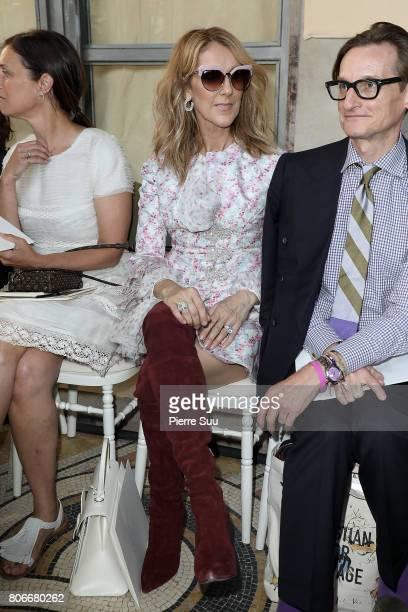 Celine Dion and Hamish Bowles attend the Giambattista Valli Haute Couture Fall/Winter 20172018 show as part of Haute Couture Paris Fashion Week on...