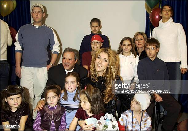 """Celine Dion and her husband Rene Angeli launch """" Grow in good health"""" campaign for sicks children In Montreal, Canada On December 18, 2002."""