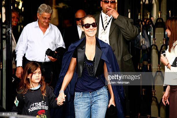 Celine Dion and her son Rene-Charles leave the Four Seasons George V hotel on May 20, 2008 in Paris, France.