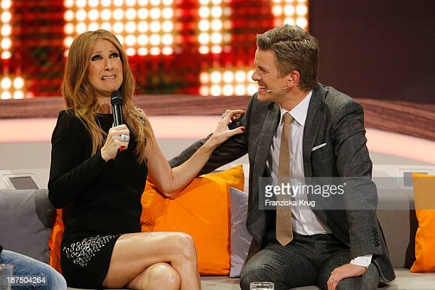 Celine Dion and Markus Lanz attend Wetten dass from Halle an der Saale on November 9 2013 in Halle an der Saale Germany