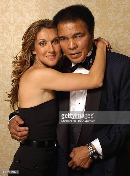 Celine Dion and Muhammad Ali during Celebrity Fight Night X Portrait Gallery at JW Marriott Desert Ridge in Phoenix Arizona United States