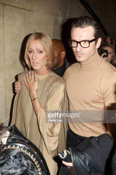 Celine Dion and Pepe Munoz arrive at the Valentino Haute Couture Spring Summer 2019 show as part of Paris Fashion Week on January 23 2019 in Paris...