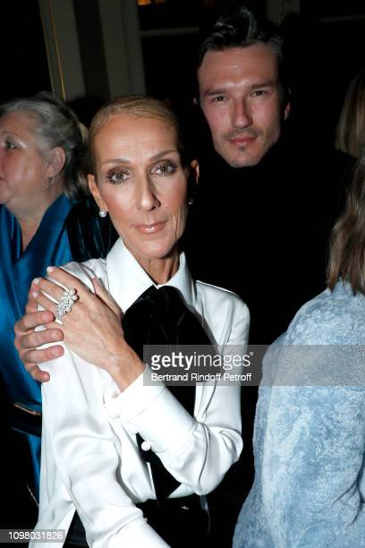 Celine Dion and Pepe Munoz attend the Giorgio Armani Prive Haute Couture Spring Summer 2019 show as part of Paris Fashion Week on January 22 2019 in...