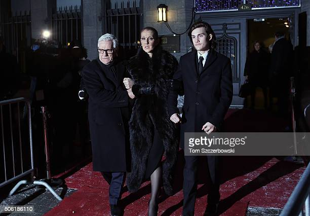Celine Dion and Rene Charles Angelil leave after attending a Public Memorial Service for Celine Dion's Husband Rene Angelil at NotreDame Basilica on...