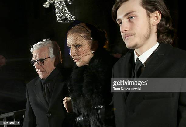Celine Dion and Rene Charles Angelil leave after attending a Public Memorial Service for Celine Dion's Husband Rene Angelil at NotreDame Basilica on...