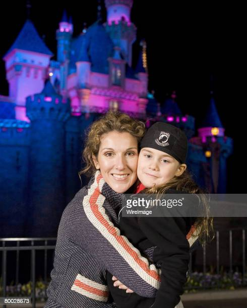 Celine Dion and son Rene-Charles outside Sleeping Beauty Castle at Disneyland in Anaheim, Calif. On Wednesday night. Dion and her family, including...
