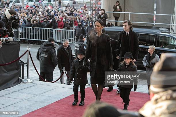 Celine Dion and sons Nelson Angelil and Eddy Angelil arriving for the State Funeral Service for Celine Dion's Husband Rene Angelil at Notre-Dame...