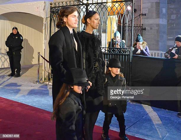 Celine Dion and sons Rene-Charles Angelil, Nelson Angelil and Eddy Angelil attend the State Funeral Service for Celine Dion's husband Rene Angelil at...