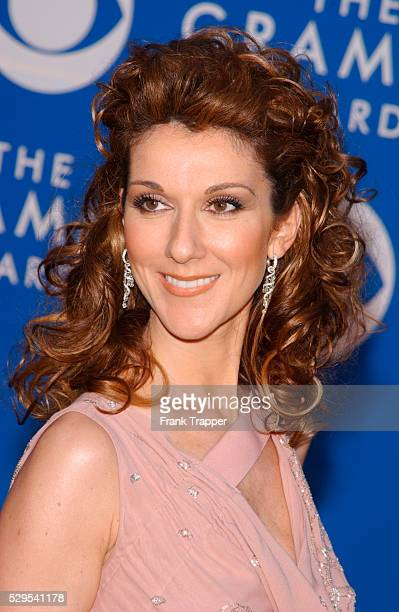 Celine Dion arrives at the 44th annual Grammy Awards