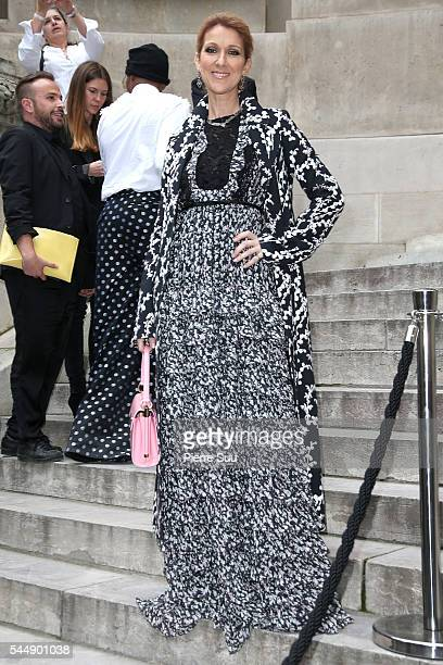 Celine Dion arrives at the Giambattista Valli Haute Couture Fall/Winter 20162017 show as part of Paris Fashion Week on July 4 2016 in Paris France