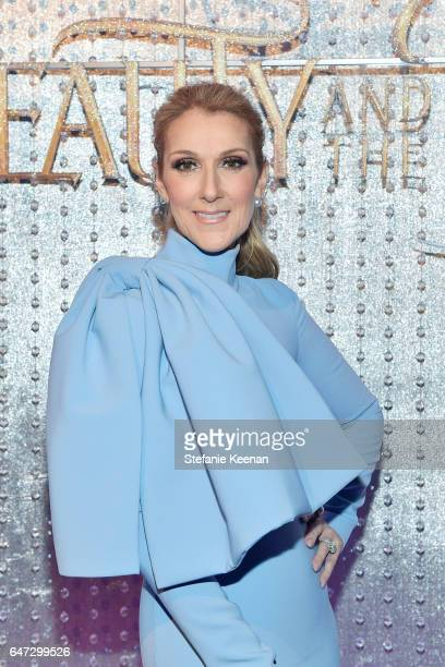 """Celine Dion arrives at the world premiere of Disney's new live-action """"Beauty and the Beast"""" photographed in front of the Swarovski crystal wall at..."""