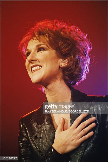 Celine Dion at Bercy concert hall in Bercy in Paris France in January 1996