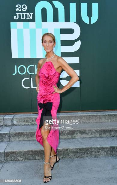 Celine Dion attends Miu Miu Club event at Hippodrome d'Auteuil on June 29 2019 in Paris France