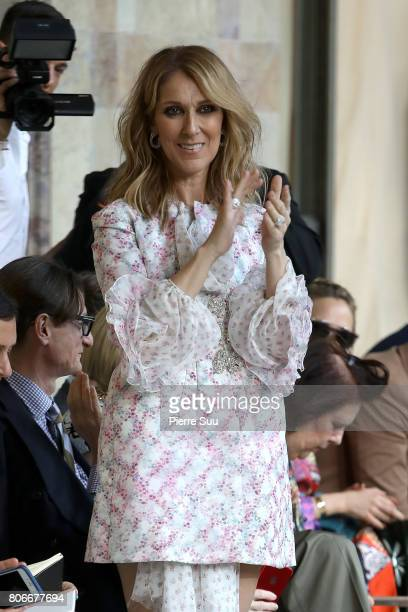 Celine Dion attends the Giambattista Valli Haute Couture Fall/Winter 20172018 show as part of Haute Couture Paris Fashion Week on July 3 2017 in...
