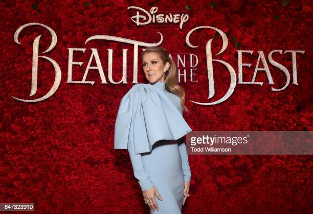 "Celine Dion attends the premiere of Disney's ""Beauty And The Beast"" at El Capitan Theatre on March 2, 2017 in Los Angeles, California."
