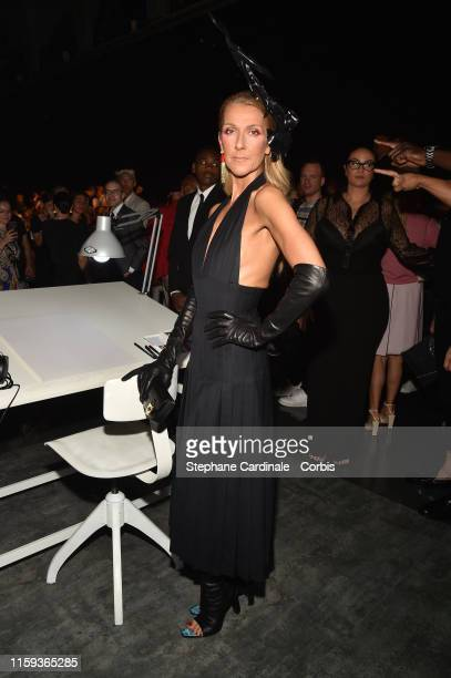 Celine Dion attends the Schiaparelli Haute Couture Fall/Winter 2019 2020 show as part of Paris Fashion Week on July 01 2019 in Paris France