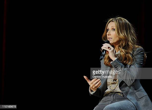 Celine Dion during a press conference after her opening night performance at The Colosseum at Caesars Palace on March 15 2011 in Las Vegas Nevada