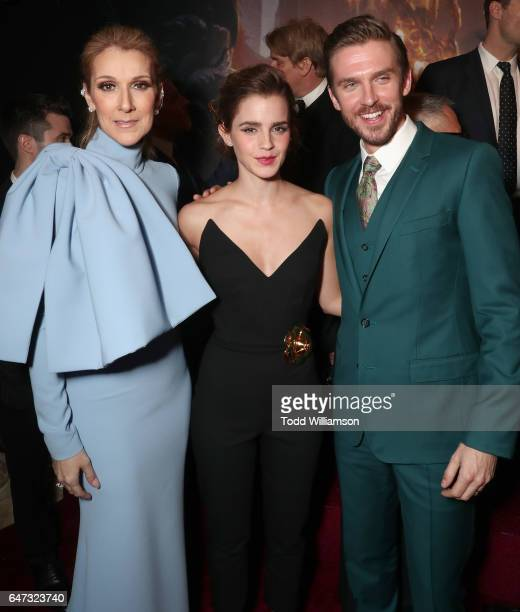 Celine Dion Emma Watson and Dan Stevens attend the premiere of Disney's 'Beauty And The Beast' at El Capitan Theatre on March 2 2017 in Los Angeles...