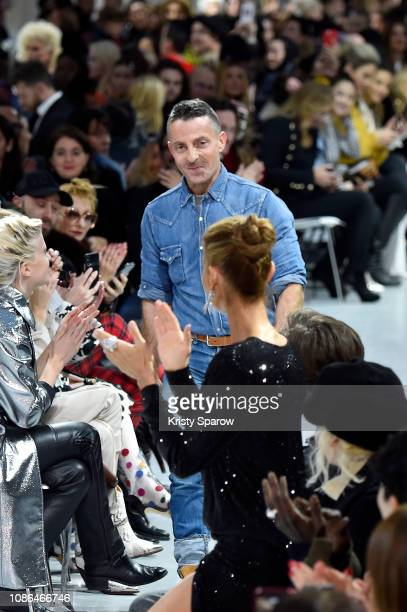 Celine Dion gives Designer Alexandre Vauthier a standing ovation during the finale of the Alexandre Vauthier Spring Summer 2019 show as part of Paris...