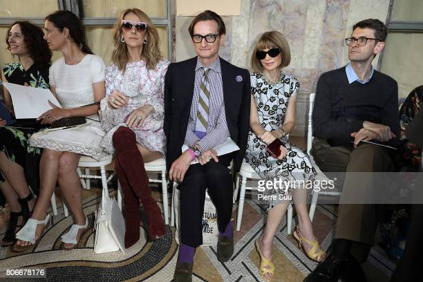 Celine Dion Hamish Bowles and Anna Wintour attend the Giambattista Valli Haute Couture Fall/Winter 20172018 show as part of Haute Couture Paris...