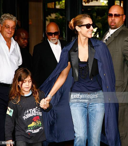 Celine Dion, her son Rene-Charles and her husband Rene leave the Four Seasons George V hotel on May 20, 2008 in Paris, France.