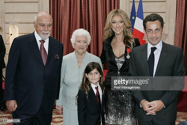 Celine Dion is awarded of the Legion d'Honneur in Paris France on May 22 2008LR Celine Dion's husband Rene Celine Dion's mother Therese Celine Dion...