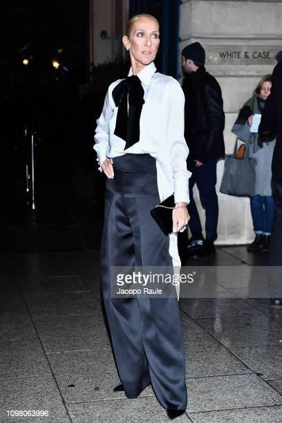 Celine Dion is seen arriving at Armani Privè fashion show during Paris Fashion Week Haute Couture Spring Summer 2020 on January 22 2019 in Paris...