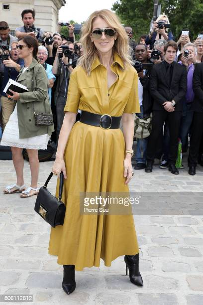 Celine Dion is seen arriving at the 'Christian Dior' show during Paris Fashion Week Haute Couture Fall/Winter 20172018 on July 3 2017 in Paris France