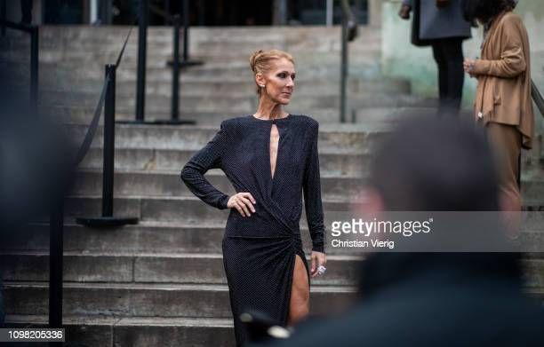 Celine Dion is seen outside Alexandre Vauthier during Haute Couture Spring Summer 2019 Day Two on January 22 2019 in Paris France