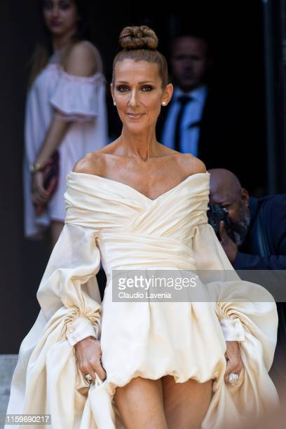 Celine Dion, is seen outside Alexandre Vauthier show during Paris Fashion Week - Haute Couture Fall Winter 2019 - 2020 on July 02, 2019 in Paris,...