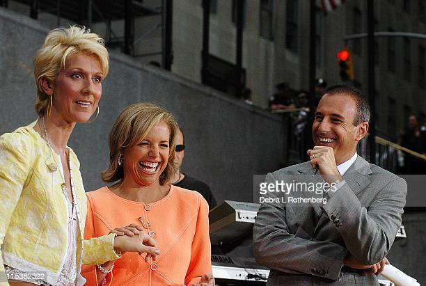 Celine Dion Katie Couric and Matt Lauer during The Today Show's 2003 Summer Concert Series Celine Dion at Rockefeller Plaza in New York City New York...