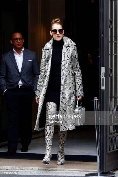 Celine Dion leaves her hotel in Paris France on July 27 2017