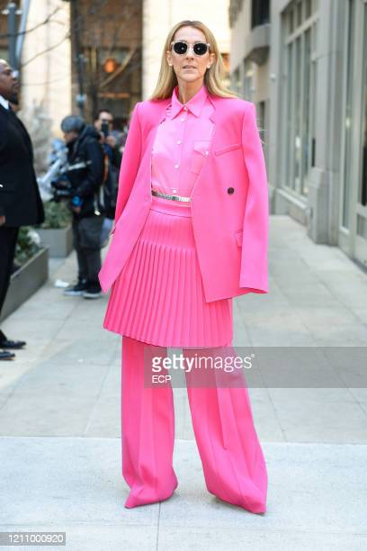 Celine Dion leaves her hotel on March 7, 2020 in New York City.