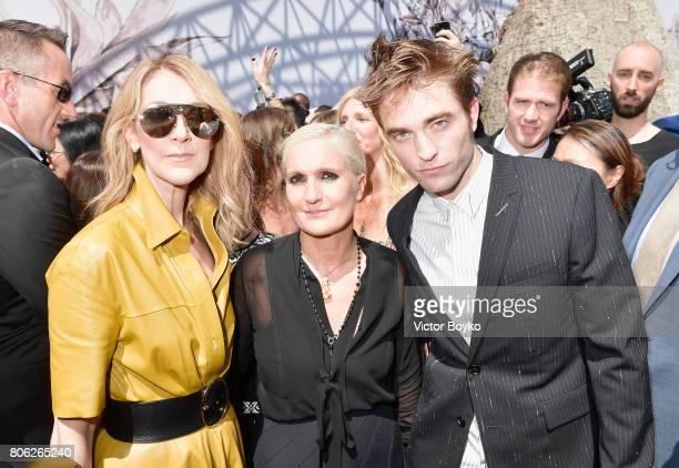 Celine Dion Maria Grazia Chiuri and Robert Pattinson attend the Christian Dior Haute Couture Fall/Winter 20172018 show as part of Haute Couture Paris...