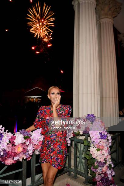 Celine Dion marks the end of her successful Las Vegas residency at The Colosseum with a fireworks celebration at MR CHOW at Caesars Palace on June 08...