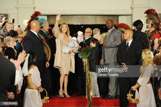 Celine Dion Nelson Dion Angelil Eddy Dion Angelil Rene Angelil and ReneCharles Dion Angelil arrive at Caesars Palace on February 16 2011 in Las Vegas...