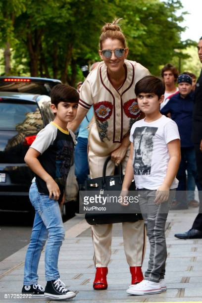 Celine Dion out with her child visit a shop in Paris, France, on July 17, 2017. Celine Dion is a Canadian singer and businesswoman.