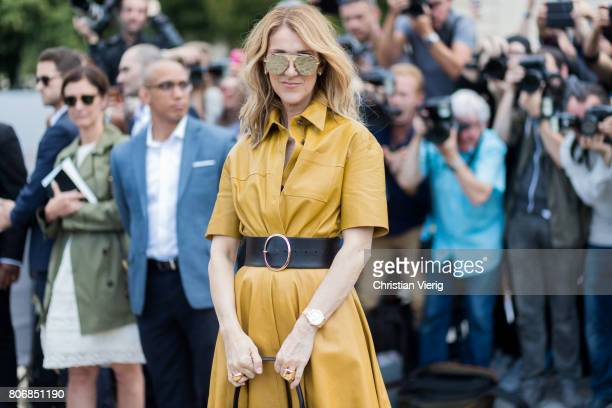 Celine Dion outside Dior during Paris Fashion Week Haute Couture Fall/Winter 20172018 Day Two on July 3 2017 in Paris France