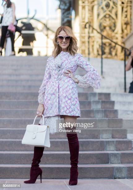 Celine Dion outside Giambattista Valli during Paris Fashion Week Haute Couture Fall/Winter 20172018 Day Two on July 3 2017 in Paris France