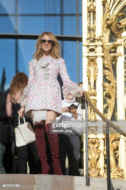 Celine Dion outside the Giambattista Valli show at Petit Palais on July 3 2017 in Paris France