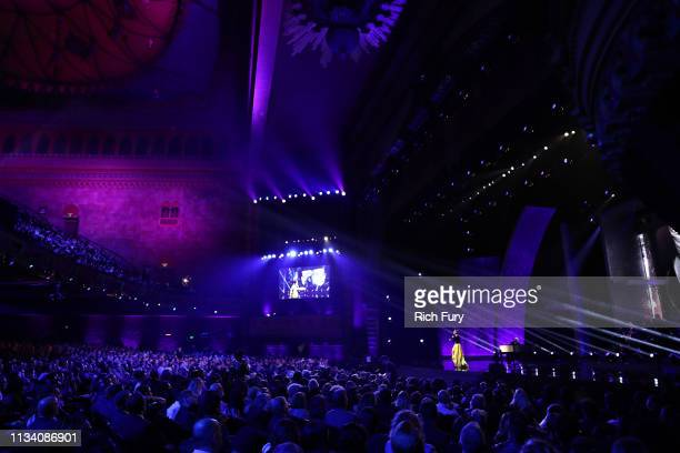 Celine Dion peforms onstage at AllStar Lineup Pays Tribute At 'Aretha A GRAMMYCelebration For The Queen Of Soul at The Shrine Auditorium on January...