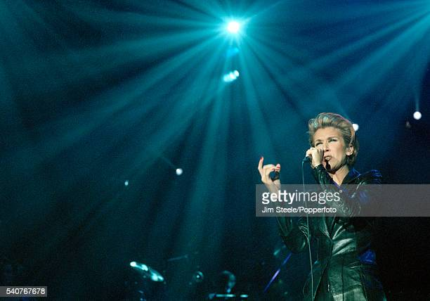 Celine Dion performing on stage at Wembley Arena in London on the 1st November 1995