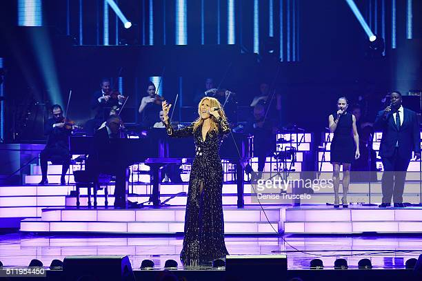 Celine Dion performs during her emotional return to the Colosseum at Caesars Palace on February 23 2016 in Las Vegas Nevada