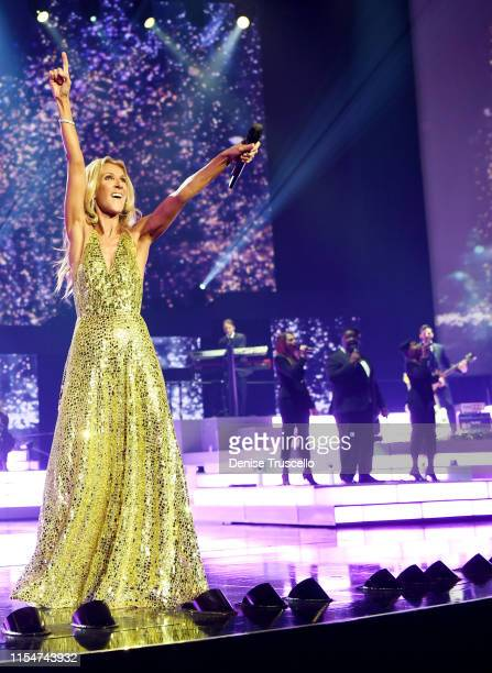 Celine Dion performs during the final show of her Las Vegas residency at The Colosseum at Caesars Palace on June 08 2019 in Las Vegas Nevada