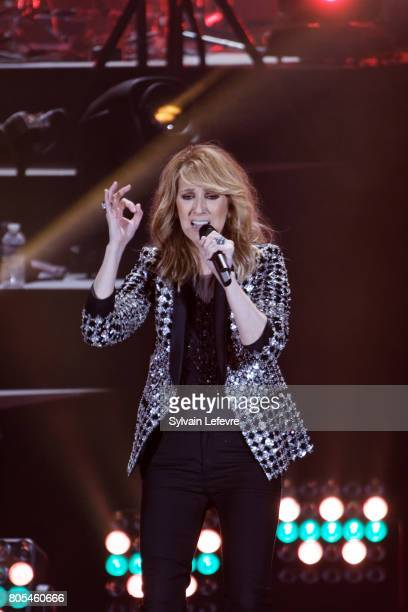Celine Dion performs on stage at Stade Pierre Mauroy on July 1 2017 in Lille France