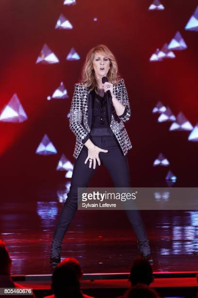 DECEMBER 15Th 2017 Celine Dion performs on stage at Stade Pierre Mauroy on July 1 2017 in Lille France