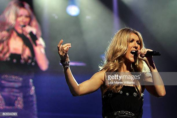Celine Dion performs on stage at the Acer Arena on April 5, 2008 in Sydney, Australia.